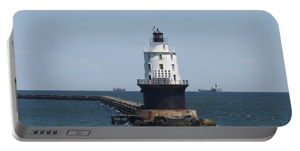 Lighthouse Portable Battery Charger featuring the photograph Harbor Of Refuge Lighthouse by Christiane Schulze Art And Photography