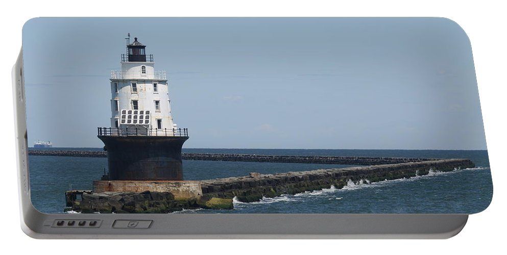 Lighthouse Portable Battery Charger featuring the photograph Harbor Of Refuge Lighthouse II by Christiane Schulze Art And Photography
