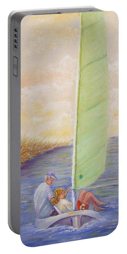 Boats Portable Battery Charger featuring the painting Harbor Sail by Loretta Luglio