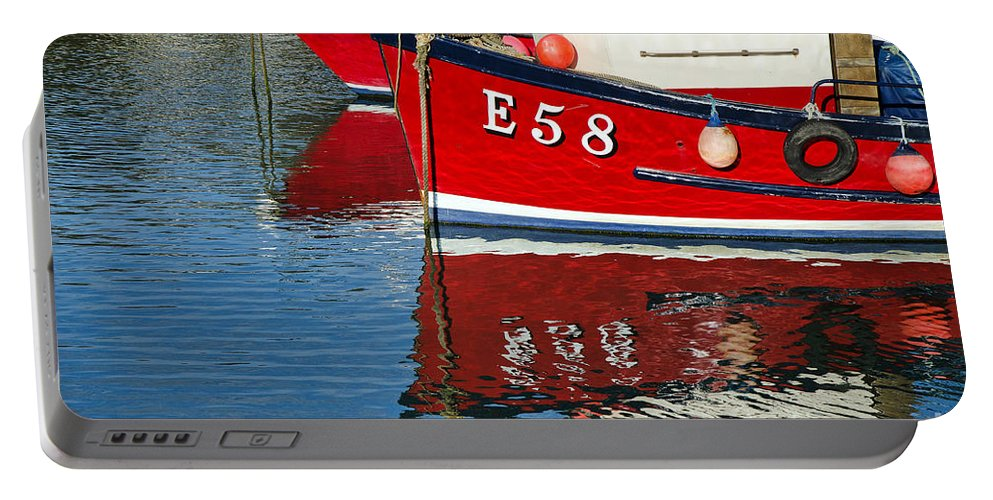 Lyme Regis Portable Battery Charger featuring the photograph Harbour Reds by Susie Peek