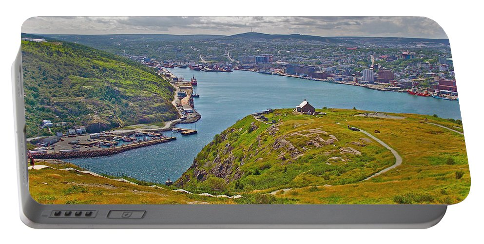Harbour View From Signal Hill National Historic Site In Saint John's Portable Battery Charger featuring the photograph Harbour View From Signal Hill National Historic Site In Saint John's-nl by Ruth Hager