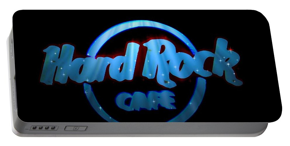 Portable Battery Charger featuring the photograph Hard Rock Neon In Space by Kelly Awad