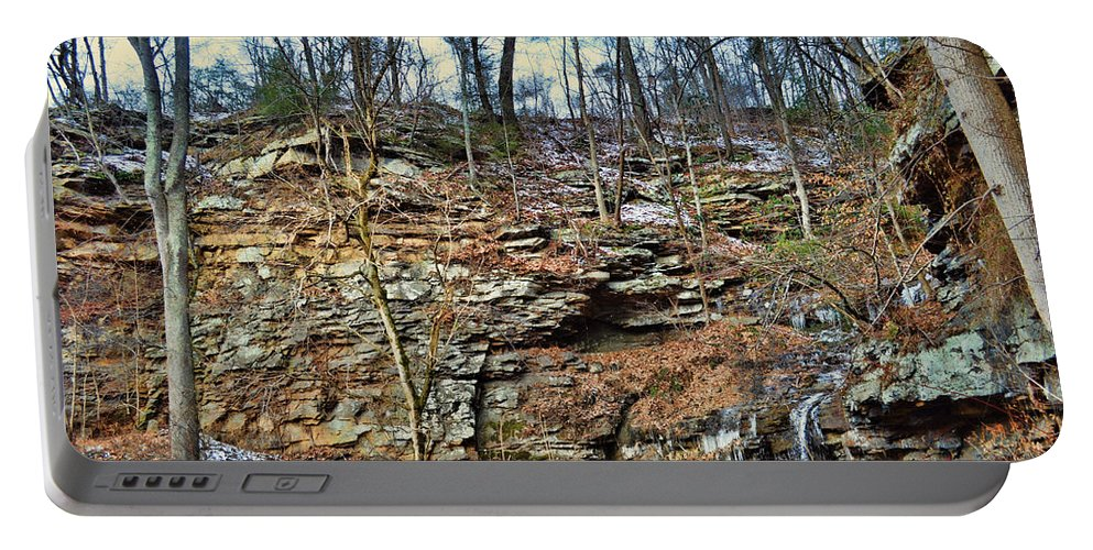 Nature Portable Battery Charger featuring the photograph Hard Water Drips by Paulette B Wright