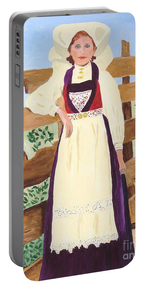 Girl Portable Battery Charger featuring the painting Hardanger Girl by Rodney Campbell