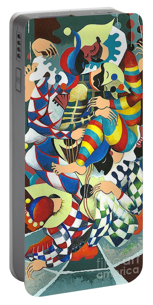 Canvas Prints Portable Battery Charger featuring the painting Harlequins Acting Weird - Why?... by Elisabeta Hermann