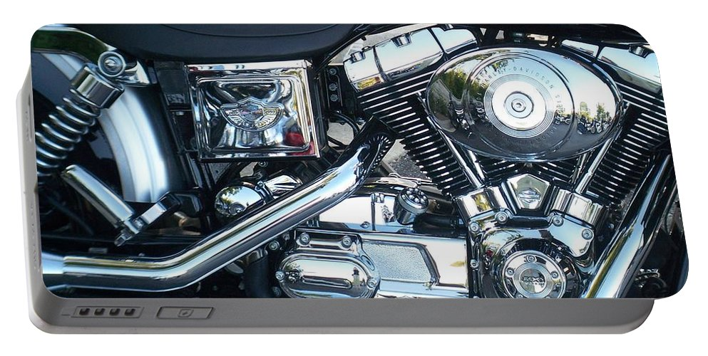 Motorcycles Portable Battery Charger featuring the photograph Harley Black And Silver Sideview by Anita Burgermeister