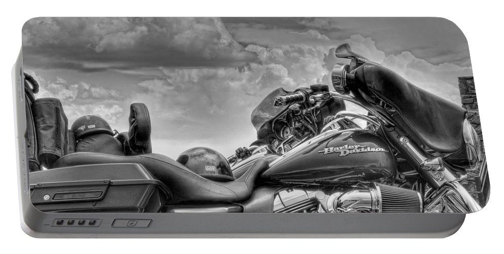 Harley Portable Battery Charger featuring the photograph Harley Black And White by Ron White