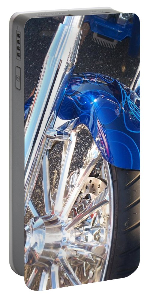 Motorcycles Portable Battery Charger featuring the photograph Harley Close-up Blue Flame by Anita Burgermeister