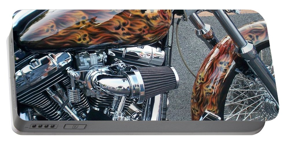 Motorcycles Portable Battery Charger featuring the photograph Harley Close-up Skull Flame by Anita Burgermeister