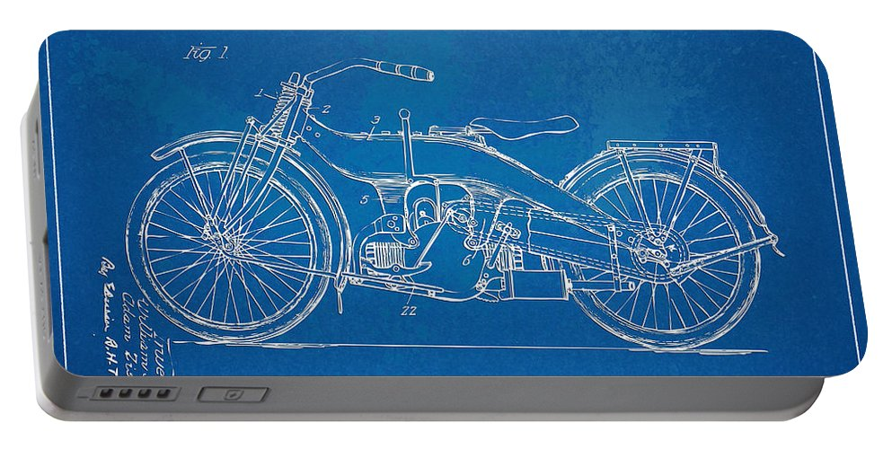 Harley-davidson Portable Battery Charger featuring the digital art Harley-davidson Motorcycle 1924 Patent Artwork by Nikki Marie Smith