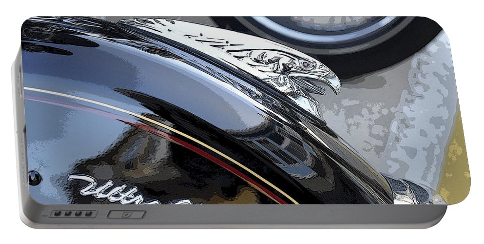 Horizontal Portable Battery Charger featuring the photograph Harley Davidson Motorcycle American Eagle Fender Ornament Usa by Sally Rockefeller