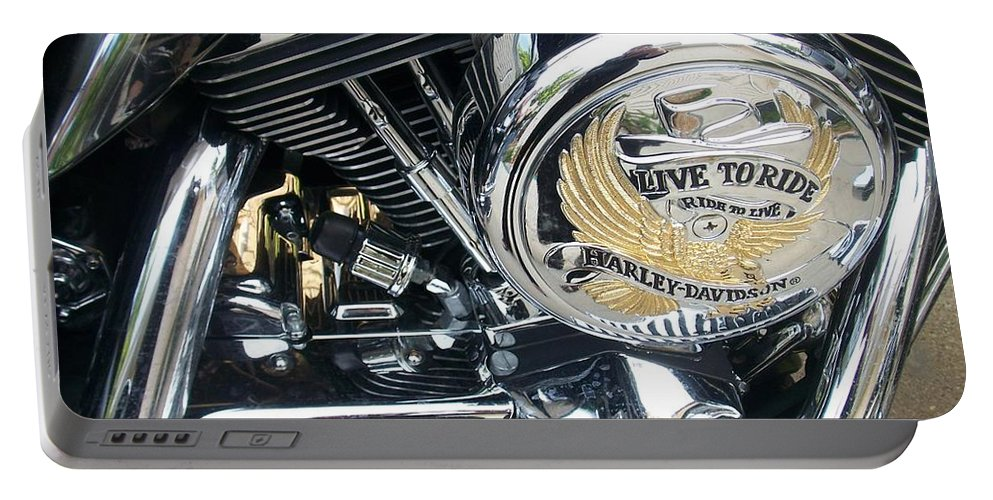Motorcycles Portable Battery Charger featuring the photograph Harley Live To Ride by Anita Burgermeister