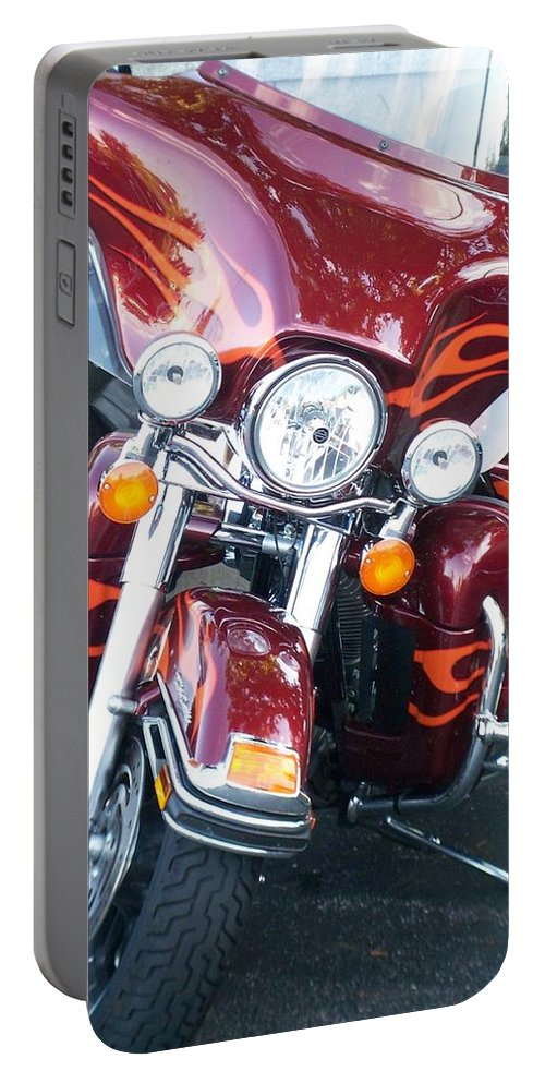Motorcycles Portable Battery Charger featuring the photograph Harley Red W Orange Flames by Anita Burgermeister