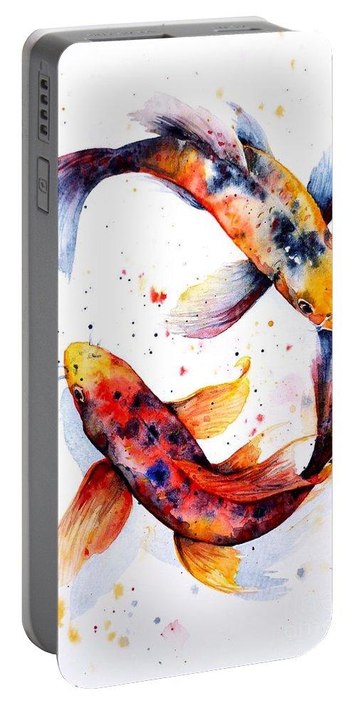 Koi Portable Battery Charger featuring the painting Harmony by Zaira Dzhaubaeva