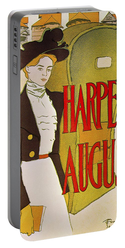 Edward Penfield Portable Battery Charger featuring the photograph Harpers August 1897 by Edward Penfield