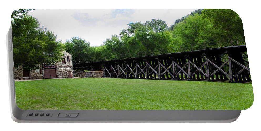 Harpers Portable Battery Charger featuring the photograph Harpers Ferry Hardware And Railroad by Bill Cannon