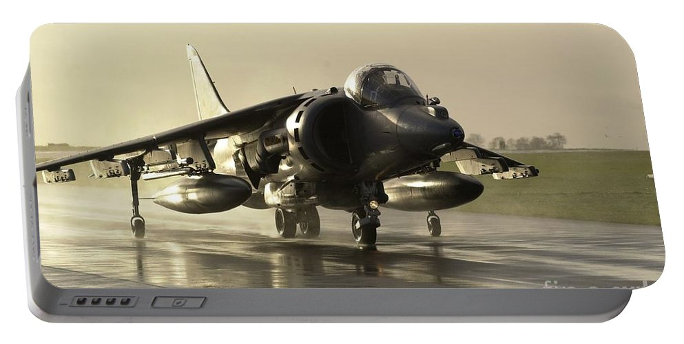 Airfield Portable Battery Charger featuring the photograph Harrier Gr7 by Paul Fearn