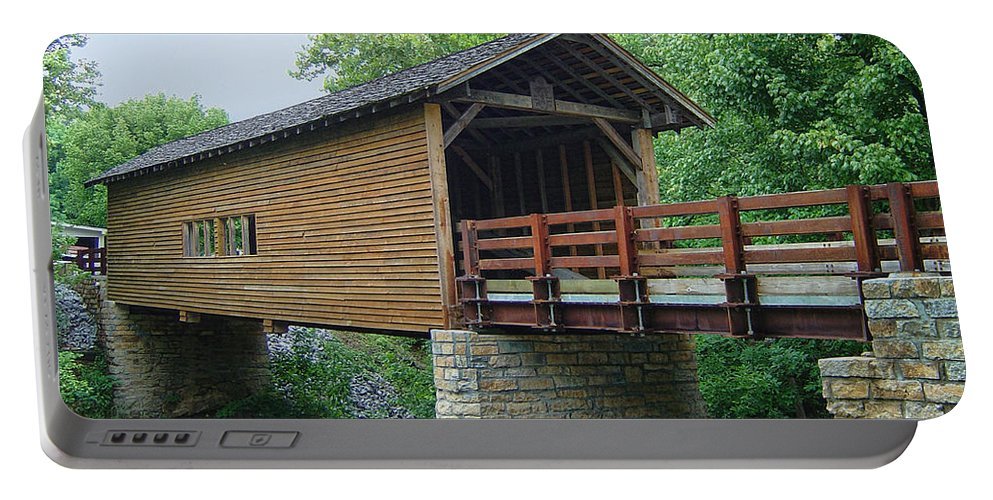 Harrisburg Covered Bridge Portable Battery Charger featuring the photograph Harrisburg Covered Bridge by Phyllis Taylor
