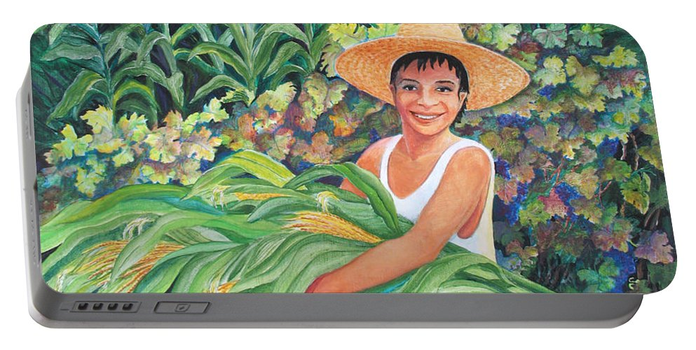 Harvest Magic Portable Battery Charger featuring the painting Harvest Magic by Beverly Martin