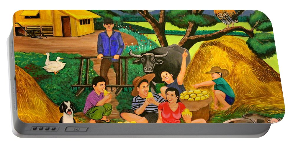 Landscape Portable Battery Charger featuring the painting Harvest Time by Lorna Maza