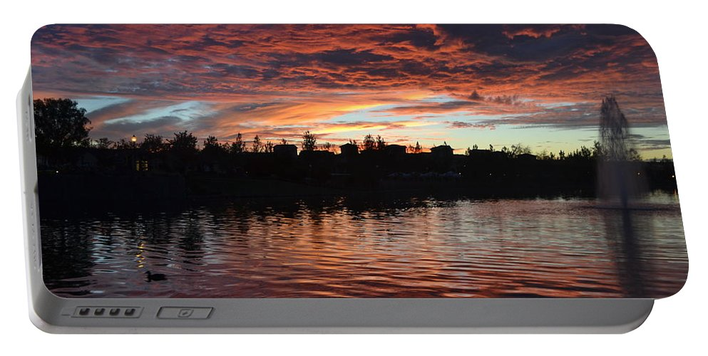 Harveston Lake Sunset Portable Battery Charger featuring the photograph Harveston Sunset by Christine Owens