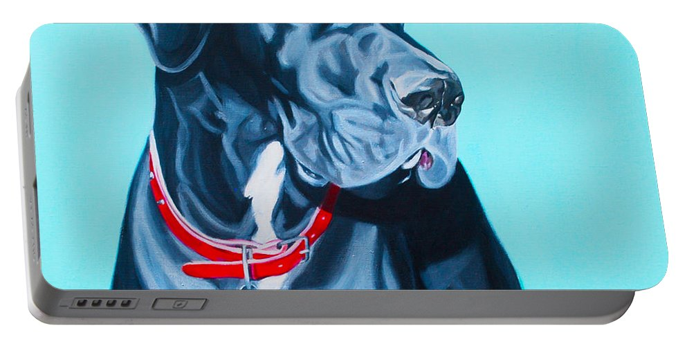 Great Dane Painting Portable Battery Charger featuring the painting Harvey by Deborah Cullen