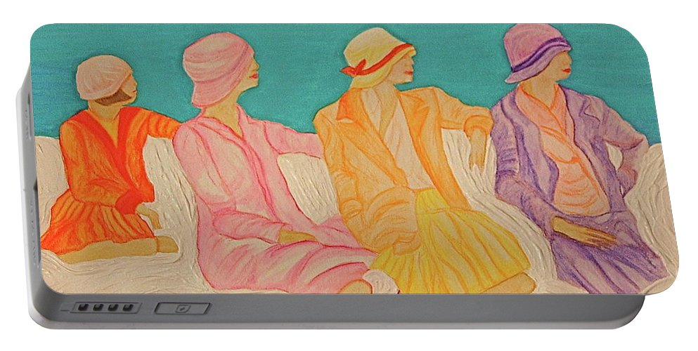 Jrr Portable Battery Charger featuring the painting Hats By Jrr by First Star Art