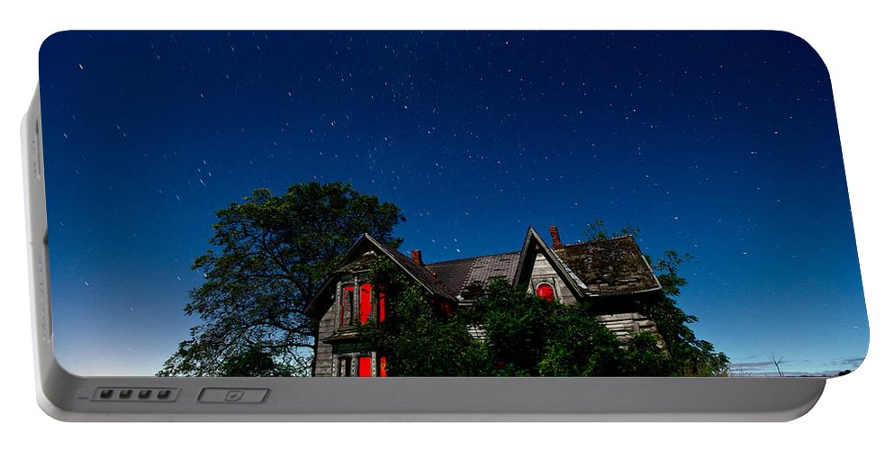 Abandoned Portable Battery Charger featuring the photograph Haunted Farmhouse At Night by Cale Best