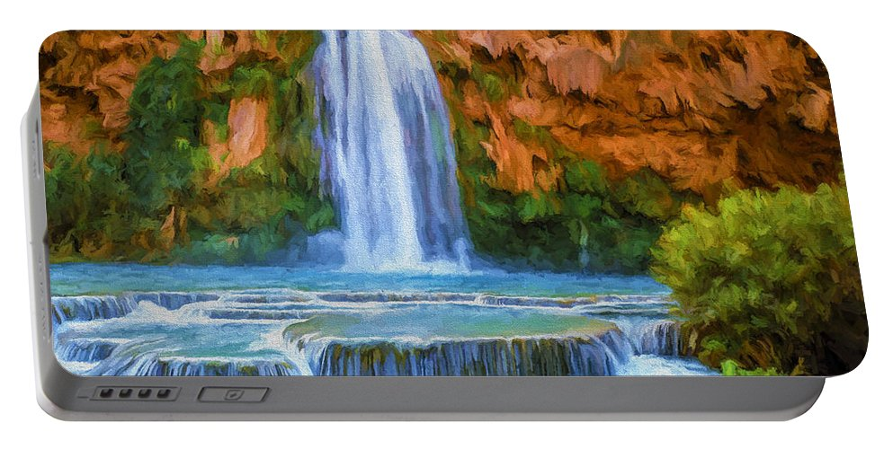 Fine Art Portable Battery Charger featuring the painting Havasu Falls by David Wagner