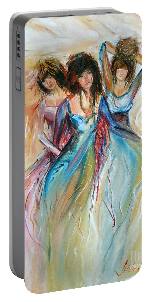 Contemporary Art Portable Battery Charger featuring the painting Having Fun by Silvana Abel