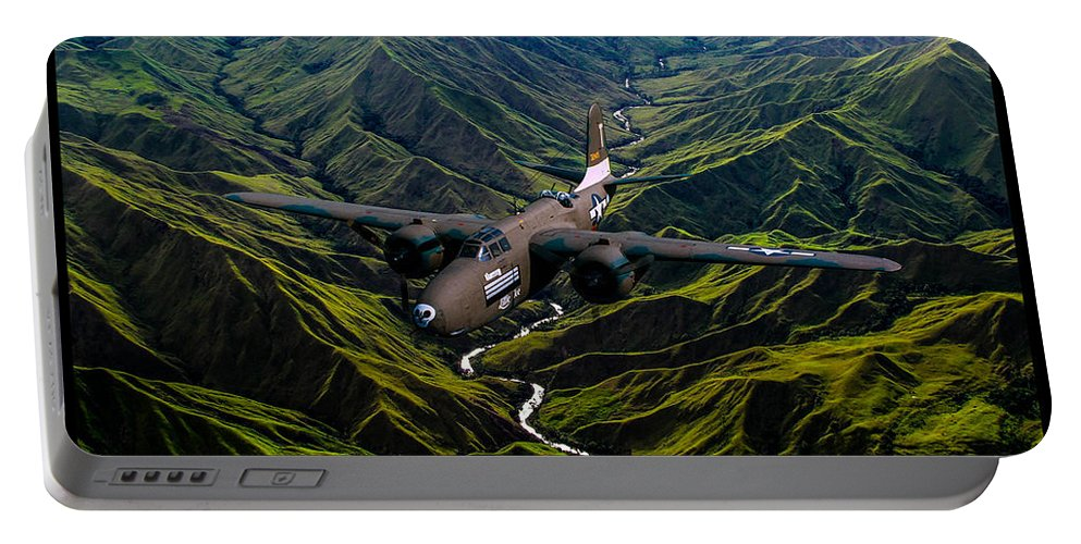Bomber Portable Battery Charger featuring the digital art Havoc In The Pacific by Tommy Anderson
