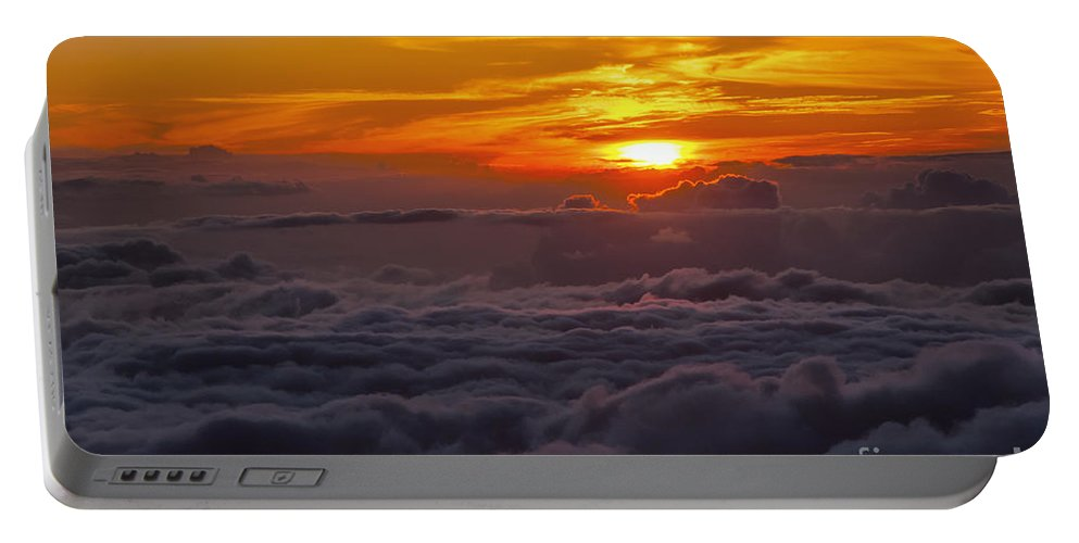 Haleakala National Park Volcano Area Maui Hawaii Evening Sky Skies Cloud Clouds Sunset Sunsets Sun Cloud Clouds Parks Portable Battery Charger featuring the photograph Evening Colors by Bob Phillips