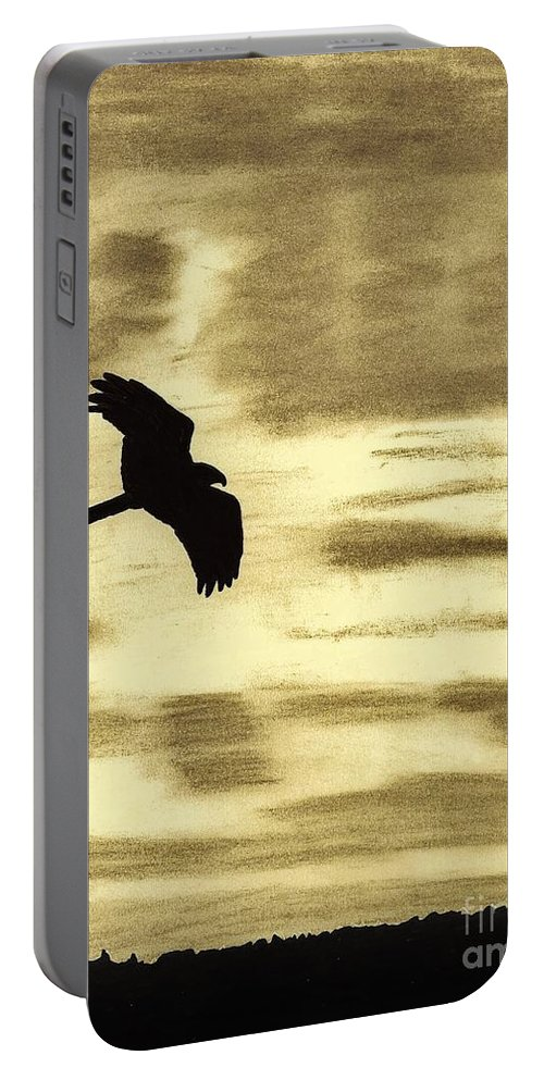 Bird Portable Battery Charger featuring the drawing Hawks - At - Sunset by D Hackett