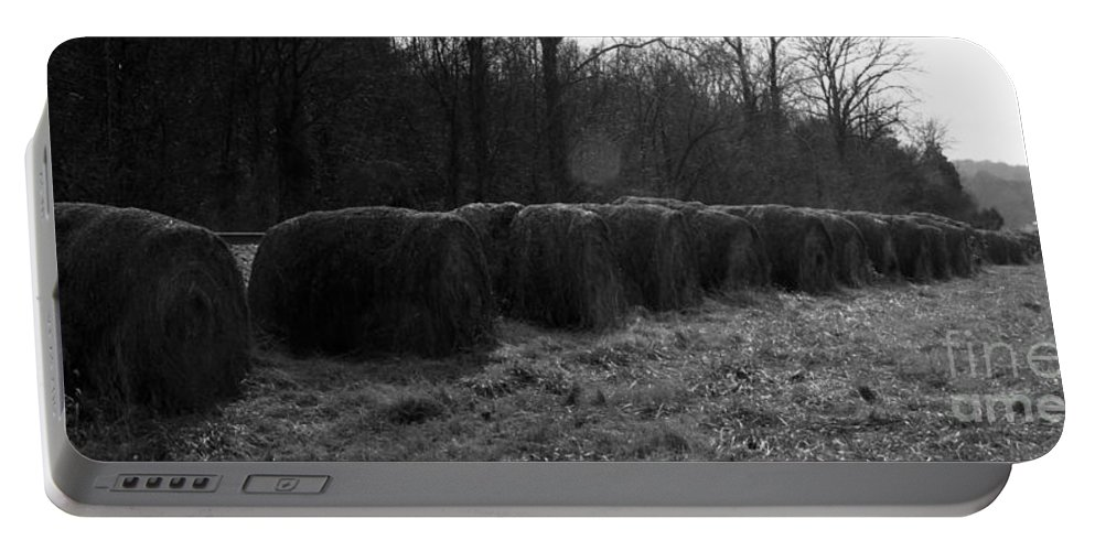 Hay Portable Battery Charger featuring the photograph Hay Bales Bw by Teresa Mucha