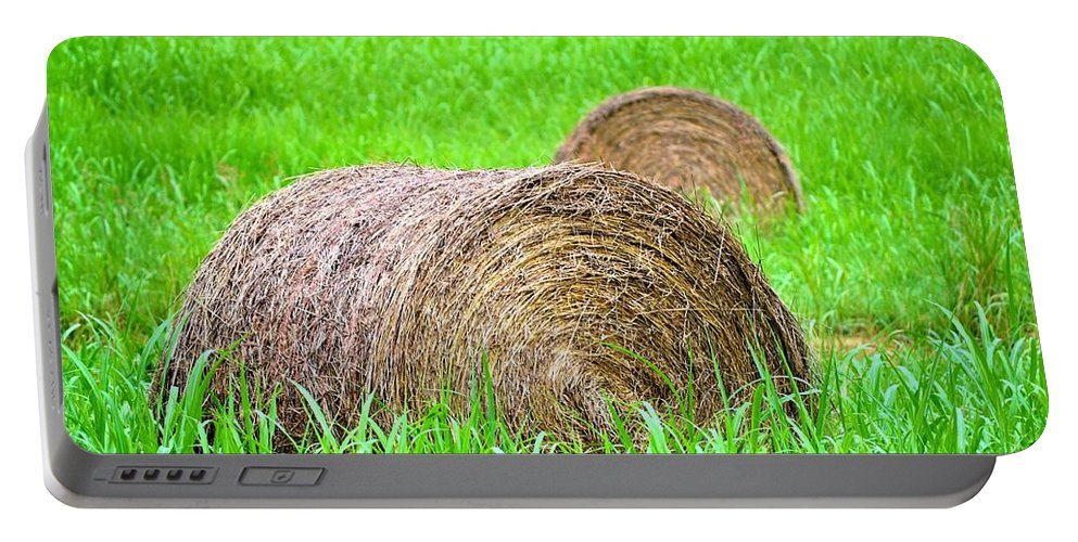 Hayrolls Portable Battery Charger featuring the photograph Hayrolls by Tara Potts
