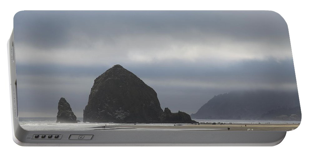 Haystack Rock Portable Battery Charger featuring the photograph Haystack Rock Cannon Beach by Christiane Schulze Art And Photography
