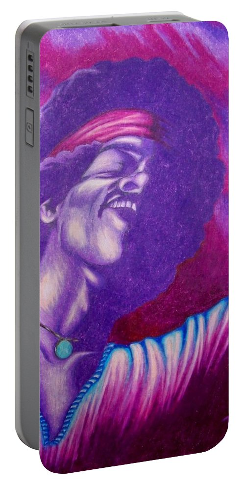 Michael Portable Battery Charger featuring the drawing Haze by Michael TMAD Finney