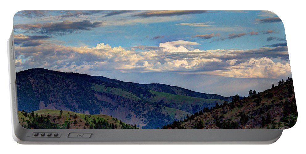 Hazy Portable Battery Charger featuring the photograph Haze Overlooking Holter by John Lee