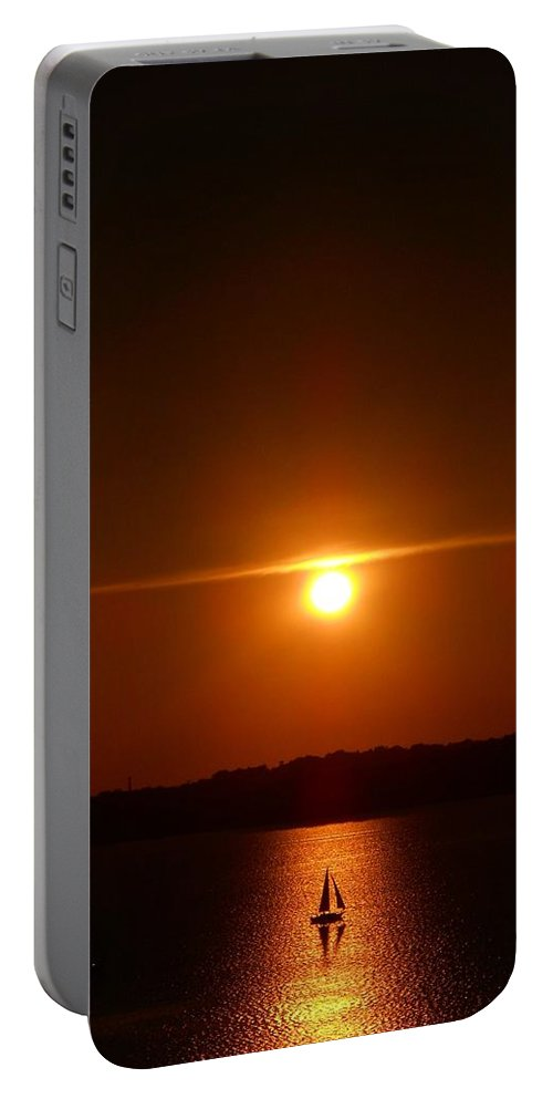Sunset Portable Battery Charger featuring the photograph Hazy Horizons by Rachel Kaufmann