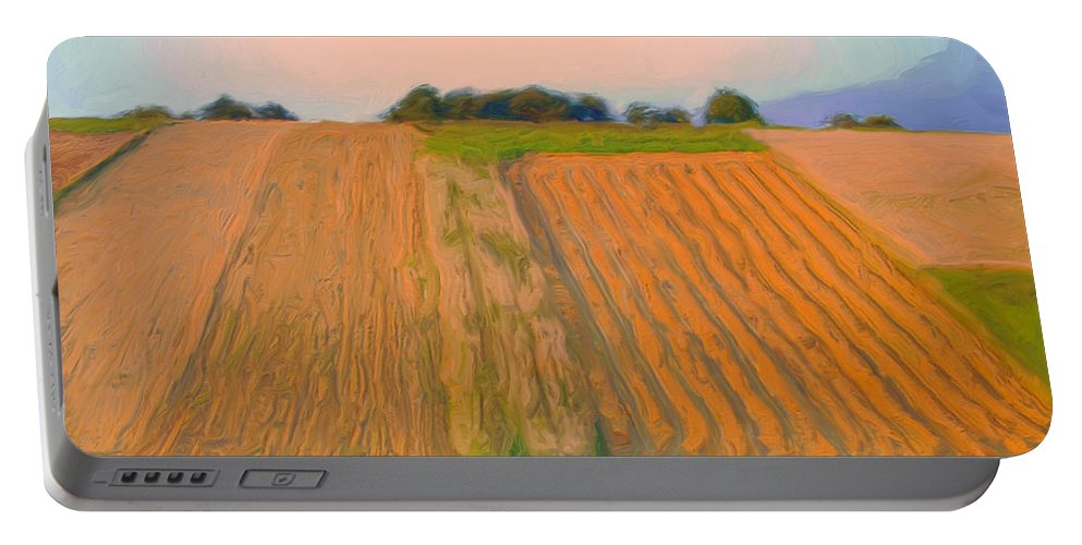 Hazy Portable Battery Charger featuring the painting Hazy Morning by Dominic Piperata