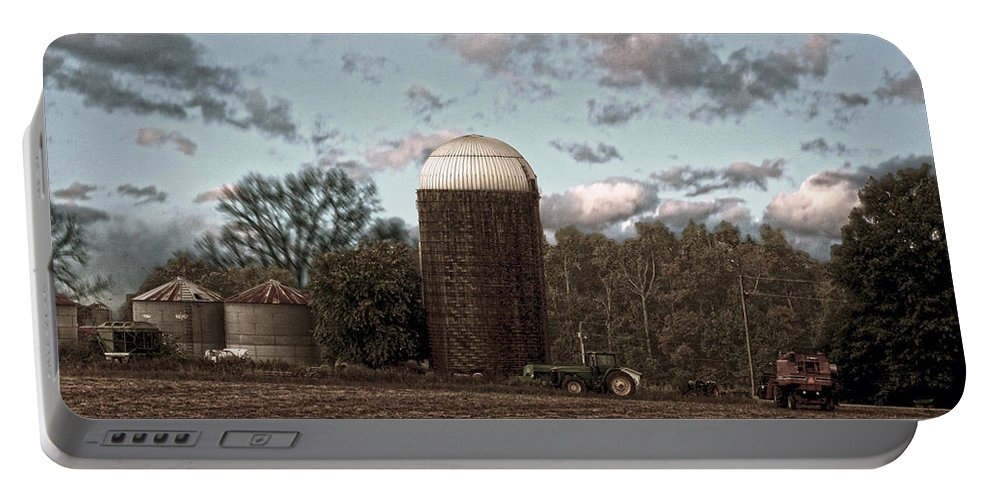 Hdr Portable Battery Charger featuring the photograph Hdr Image The Farmers Silo by Lesa Fine