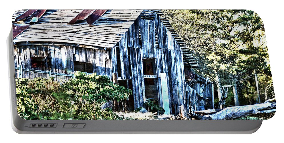 Hdr Barn Portable Battery Charger featuring the photograph Hdr Tin Patch Roof Barn by Lesa Fine
