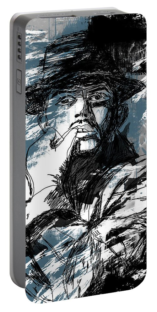 Abstract Portable Battery Charger featuring the drawing He Calls It Home - Blue by Melissa Smith