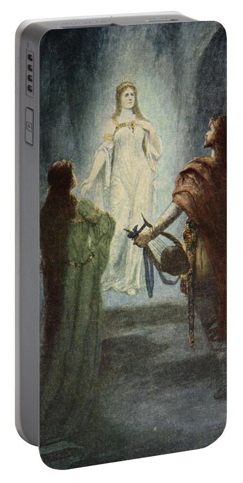 Myth Portable Battery Charger featuring the drawing He Saw A Beautiful Woman, From The by Ferdinand Leeke
