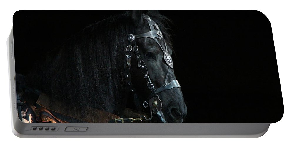 Animal Portable Battery Charger featuring the photograph Head Of An Equine Warrior by Davandra Cribbie