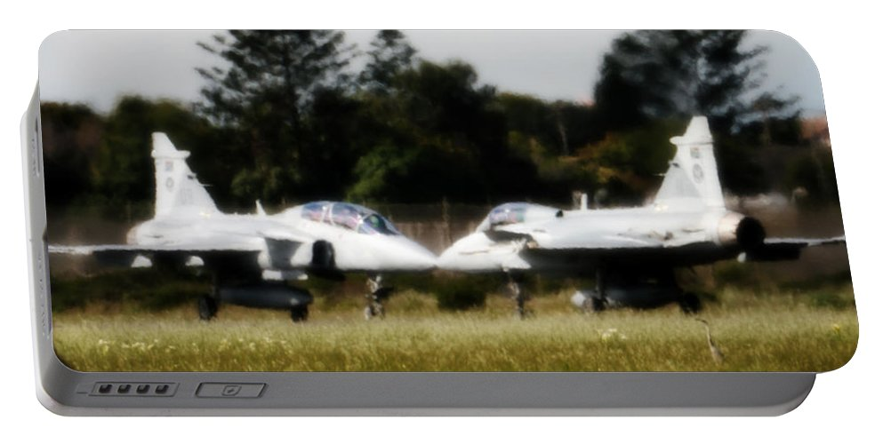 Saab Jas 39 Gripen Portable Battery Charger featuring the photograph Head To Head by Paul Job