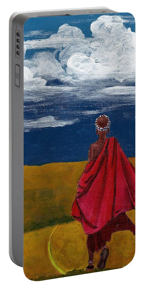 Figurative Painting Portable Battery Charger featuring the painting Heading Home by Edith Peterson