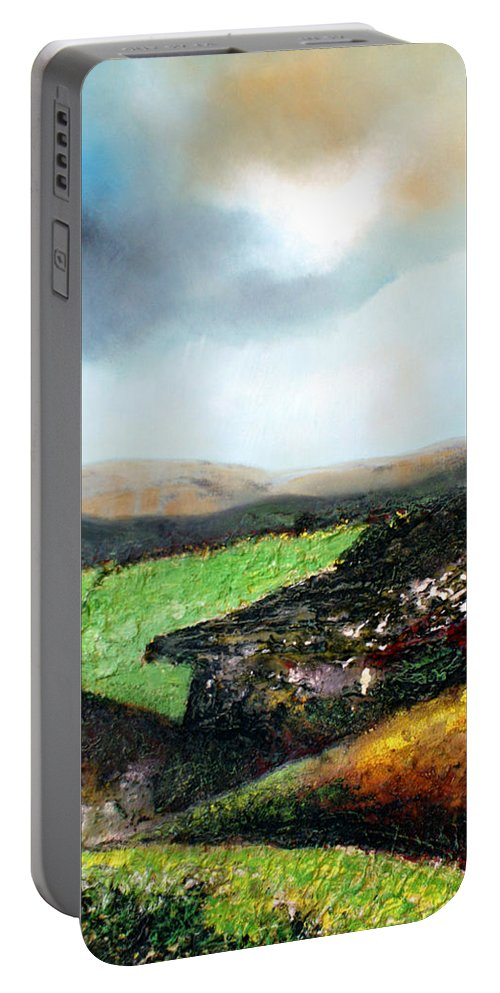 Large Landscape Painting. Mixed Media. It Comes With A Modern Brown Wooden Frame. Framed 43 X 33 Inches Portable Battery Charger featuring the painting Heading To The Green Land by Isabelle Amante