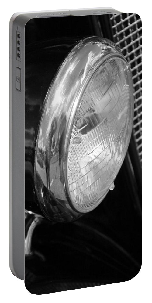 Ford Portable Battery Charger featuring the photograph headlight205 BW by Carolyn Stagger Cokley