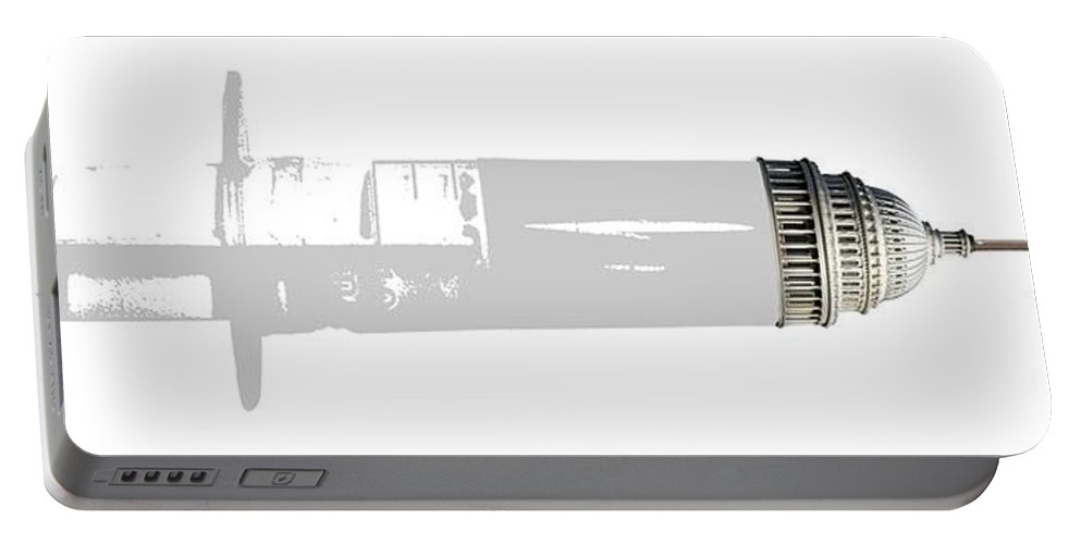 Syringe Portable Battery Charger featuring the digital art Health Care Funding by Chris Van Es